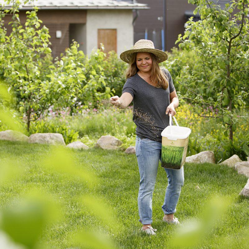 Kvinna som strör ut gödsel på gräsmattan