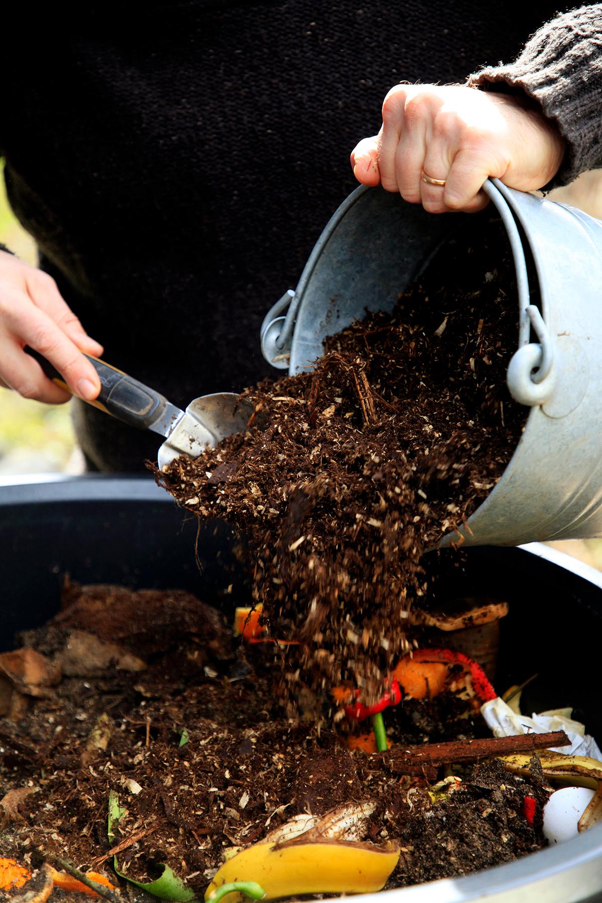 Ett torrt lager material läggs i kompostmassan